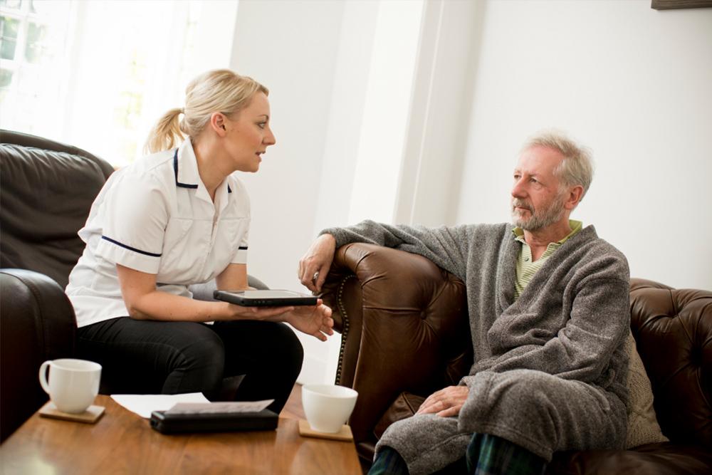 Man receiving home healthcare