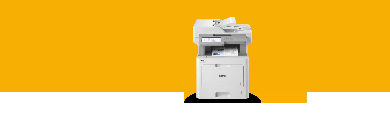 Printer on orange background