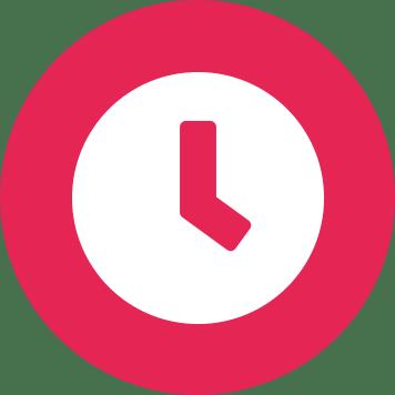 White clock icon on pink circle background