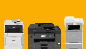 Три печатающих устройства на ярко-жёлтом фоне