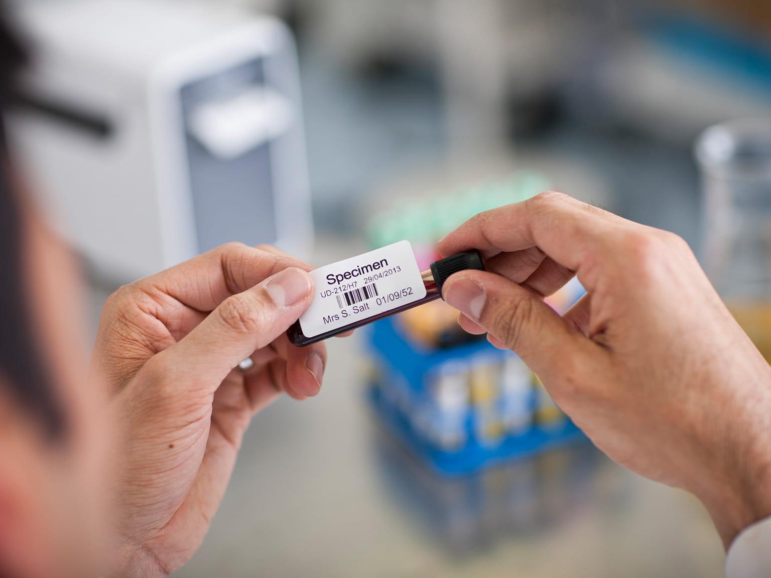 Blood sample label