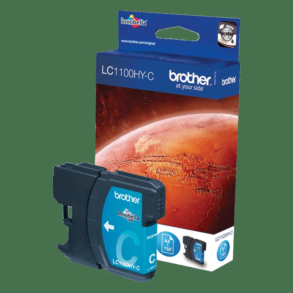 Brother LC1100HYC: оригинальный картридж повышенной емкости с голубыми чернилами  для заправки встроенного контейнера.