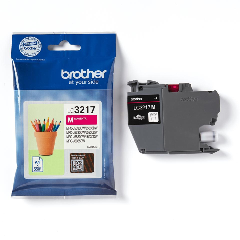 Brother LC3237M: оригинальный картридж с красными чернилами для заправки встроенного контейнера. 3