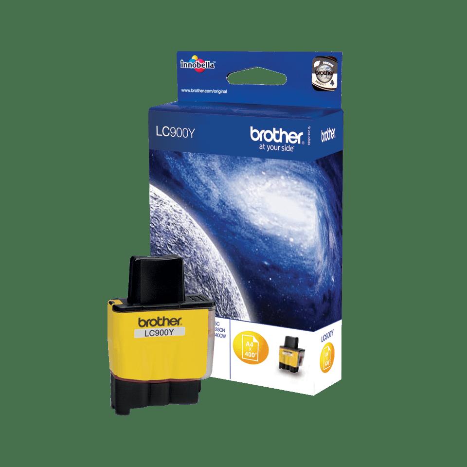 Brother LC900Y: оригинальный картридж с жёлтыми чернилами  для заправки встроенного контейнера в одном экземпляре.