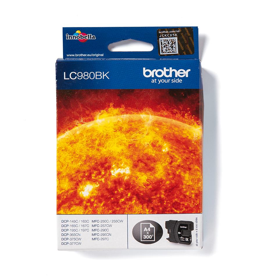 Brother LC980BK: оригинальная бутылка с черными чернилами для для заправки встроенного контейнера печатающего устройства.