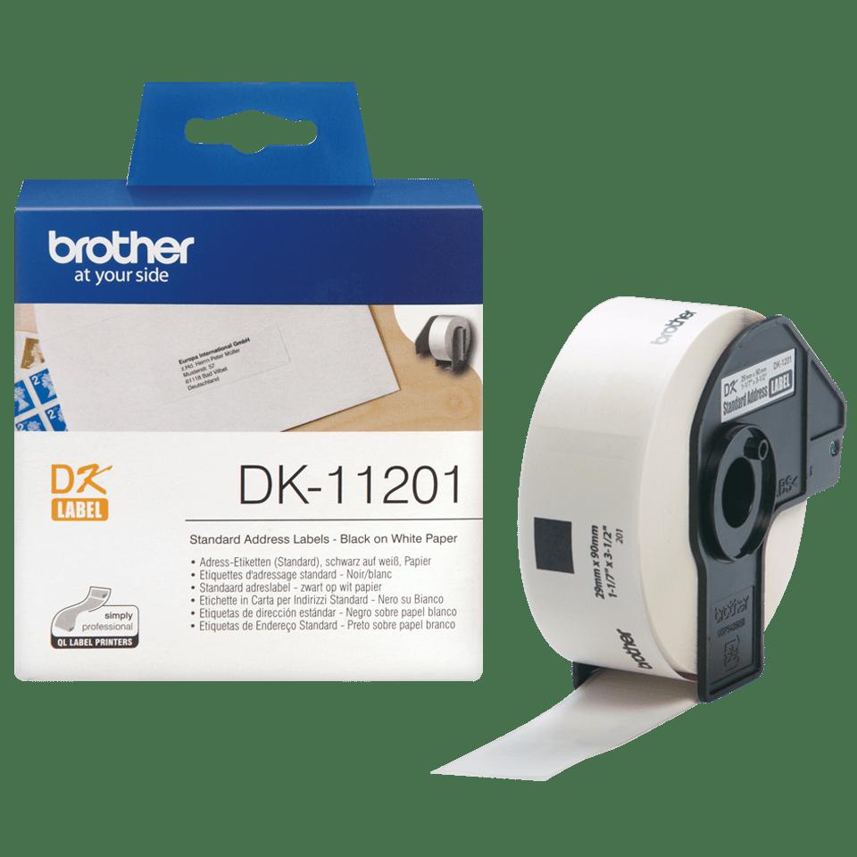 Brother DK11201: оригинальный рулон для печати наклеек черным на белом фоне, 29 мм х 90 мм. 3