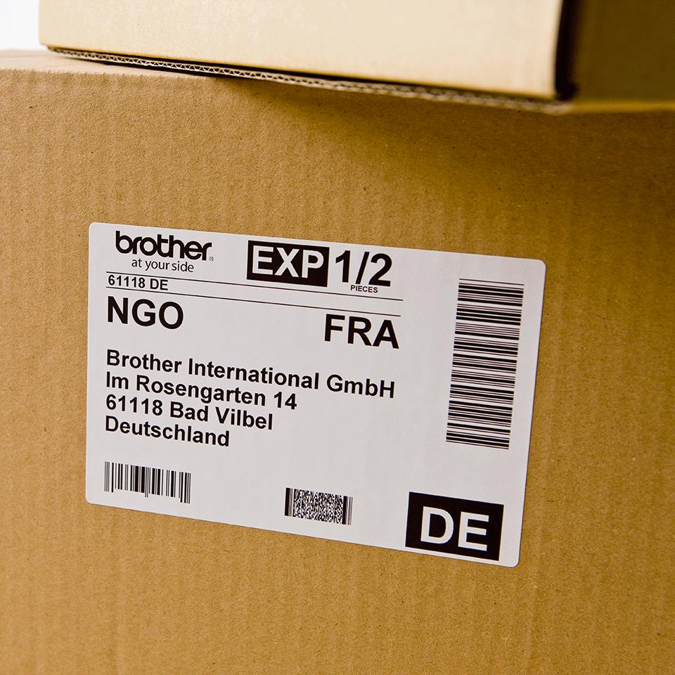 Brother DK11202: оригинальная лента для печати наклеек черным на белом фоне, 62 мм х 100 мм. 2