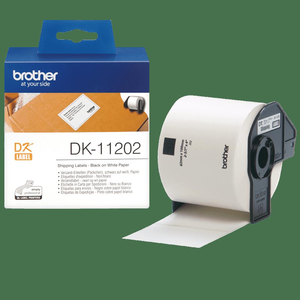 Brother DK11202: оригинальная лента для печати наклеек черным на белом фоне, 62 мм х 100 мм.