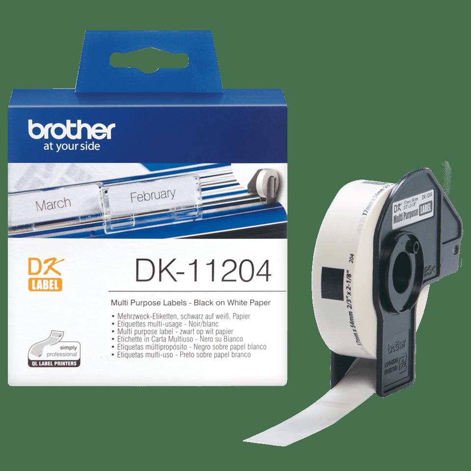Brother DK11204: оригинальная лента для печати наклеек черным на белом фоне, 17 мм х 54 мм.