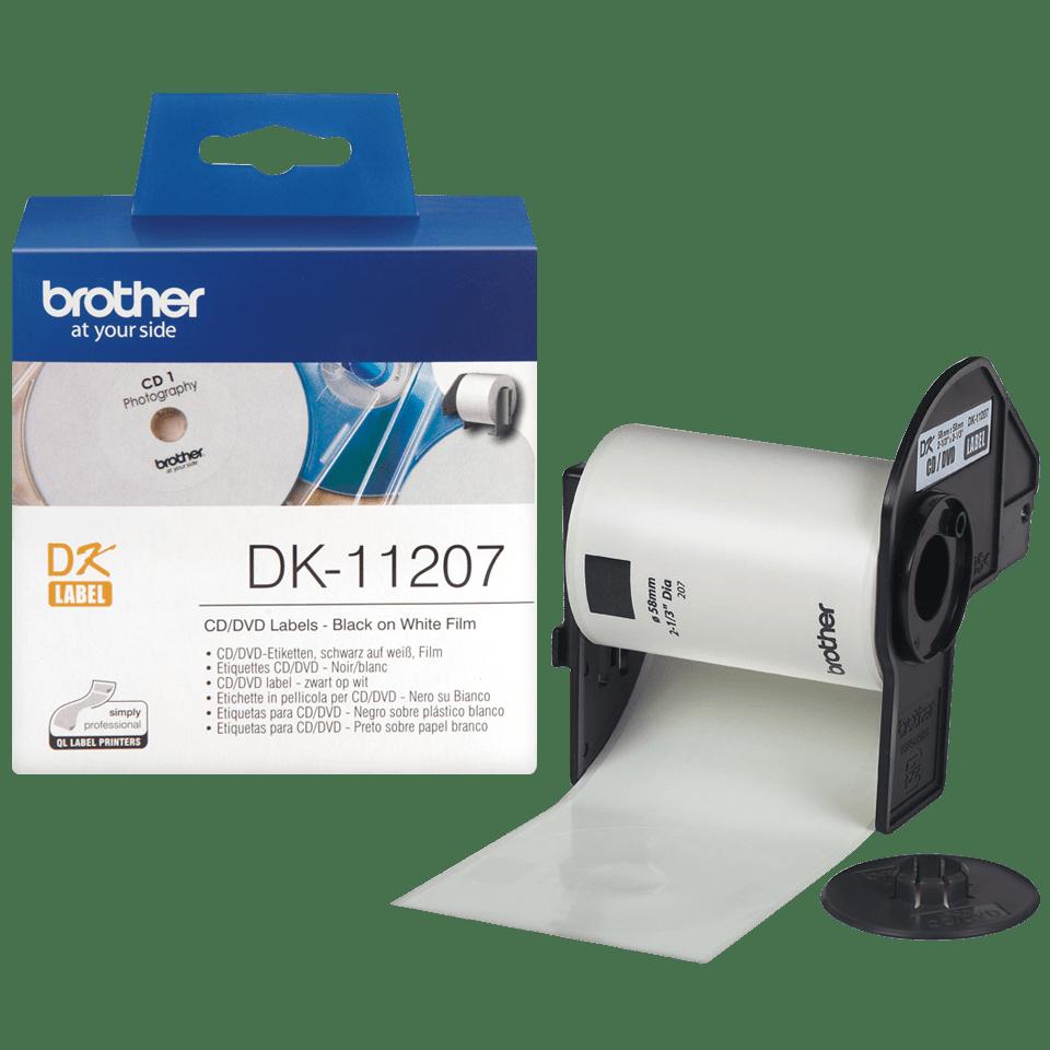 Brother DK11207: оригинальная пленка для печати наклеек для CD/DVD черным на белом фоне, диаметр: 58 мм.