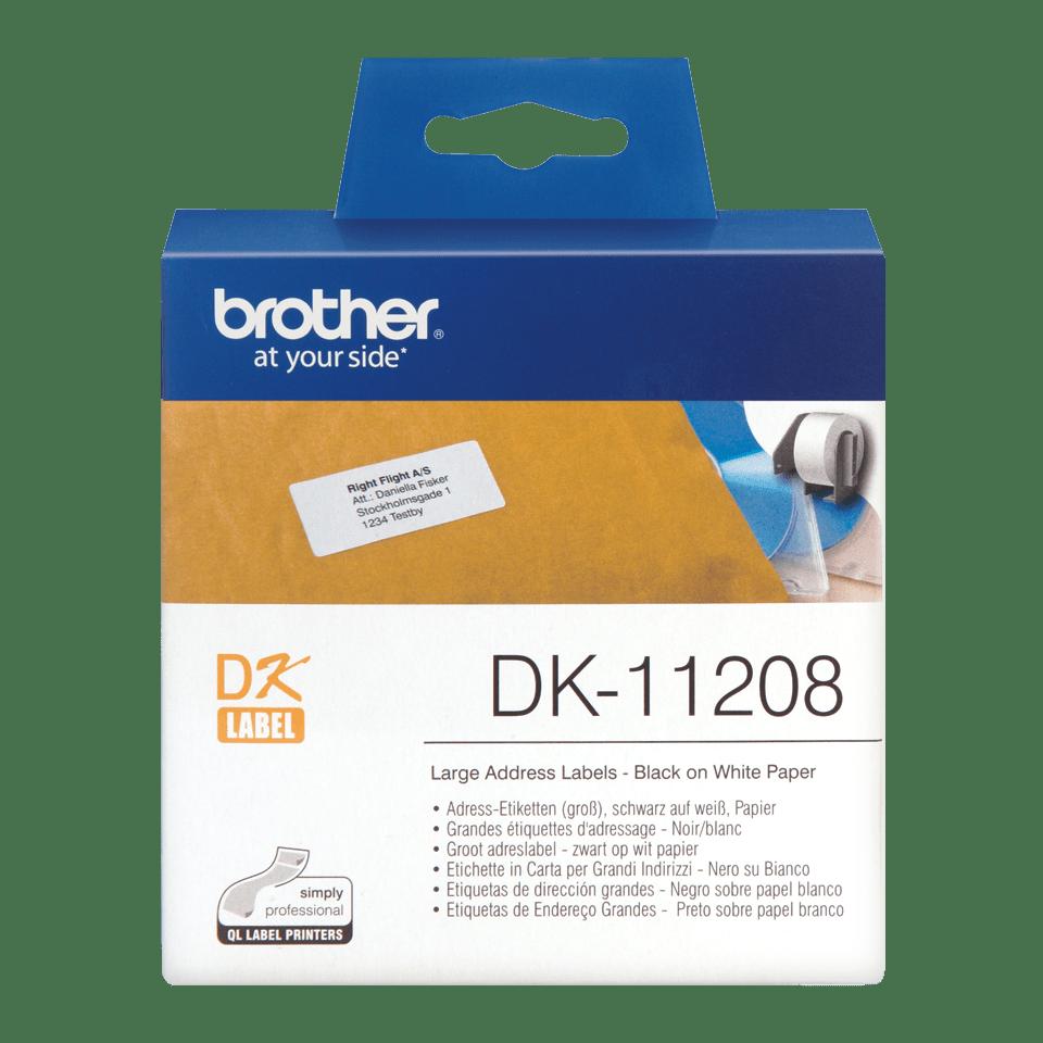 Brother DK11208: оригинальная кассета с лентой для печати наклеек черным на белом фоне, 38 мм х 90 мм.