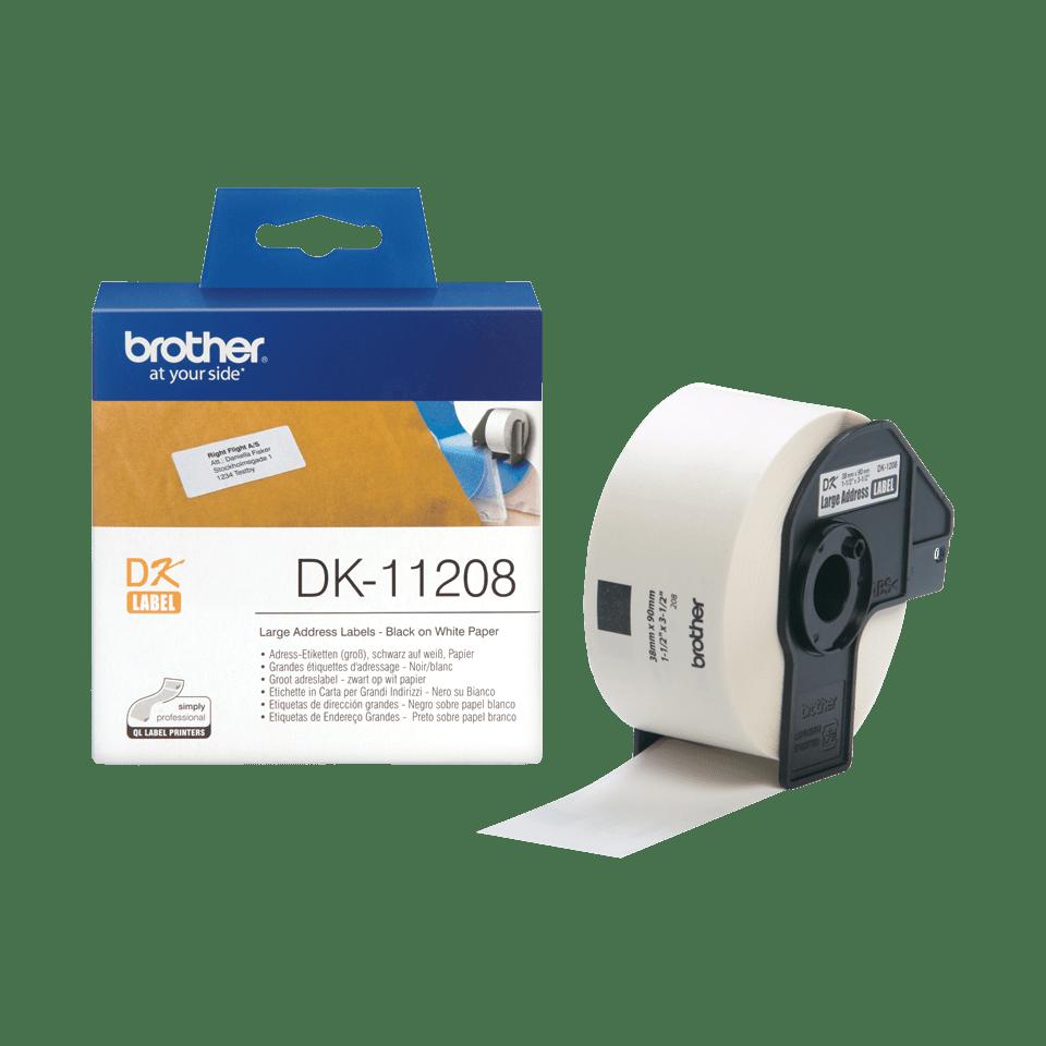 Brother DK11208: оригинальная кассета с лентой для печати наклеек черным на белом фоне, 38 мм х 90 мм. 3