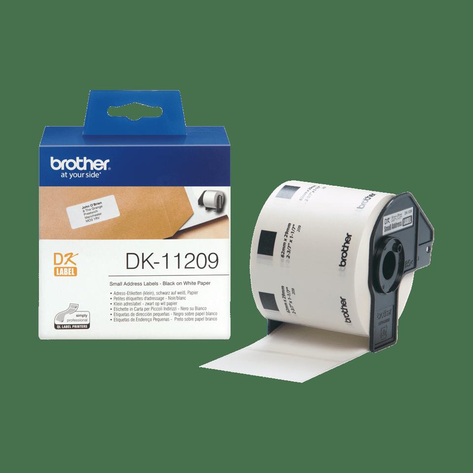 Brother DK11209: оригинальная лента для печати наклеек черным на белом фоне, в одном экземпляре, 29 мм х 62 мм. 3