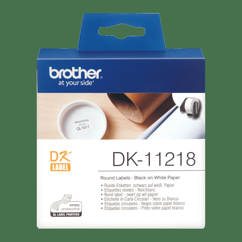 Brother DK11218: оригинальная кассета с лентой для печати круглых наклеек черным на белом фоне, диаметр: 24 мм.