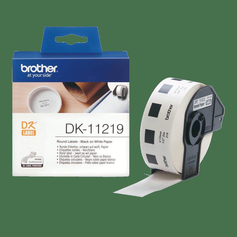Brother DK11219: оригинальная кассета с лентой для печати круглых наклеек черным на белом фоне, диаметр: 12 мм.