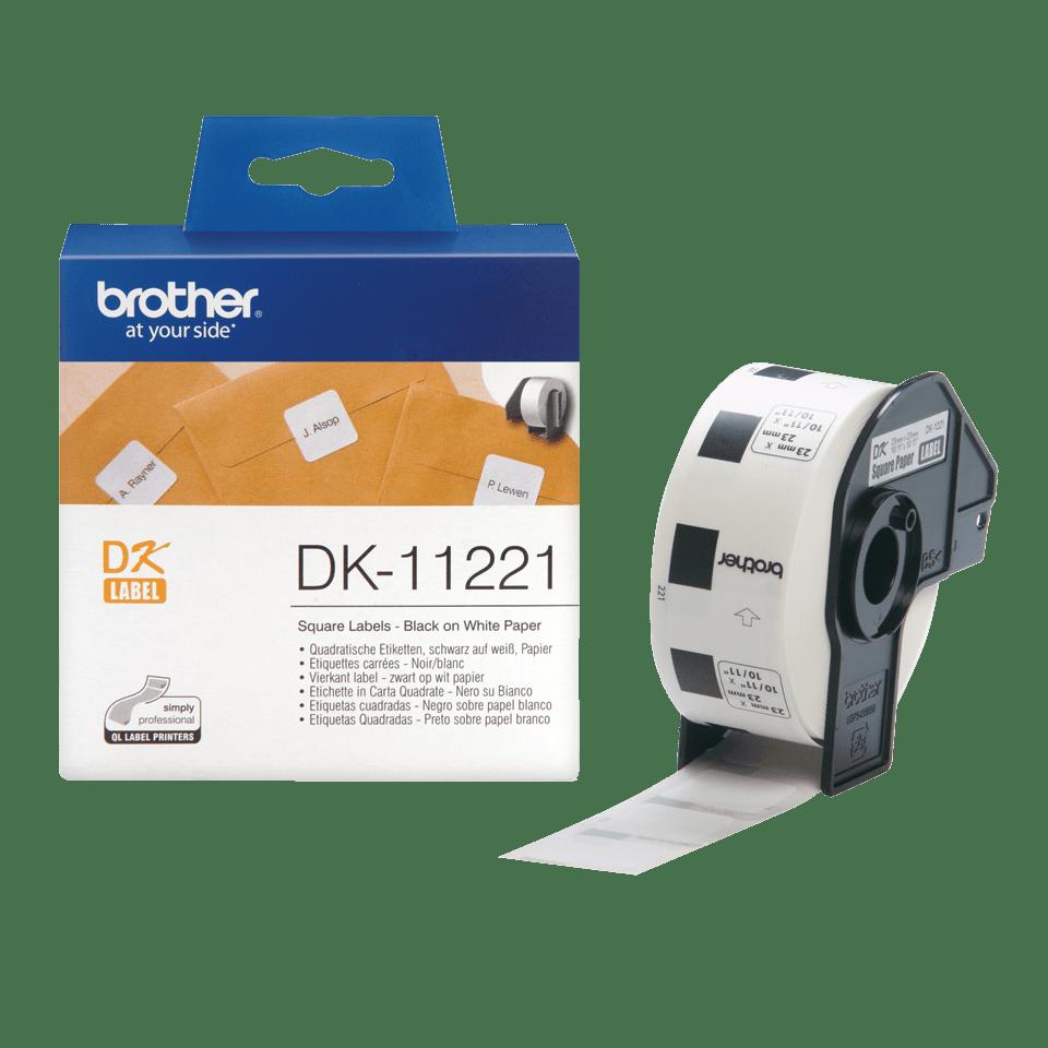 Brother DK11221: оригинальная кассета с лентой для печати наклеек черным на белом фоне, 23 мм х 23 мм. 3