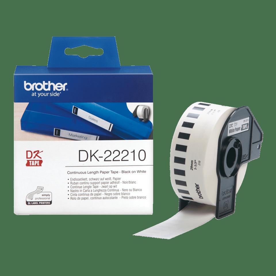 Brother DK22210: оригинальная кассета с непрерывной бумажной лентой для печати наклеек черным на белом фоне, ширина: 29 мм.