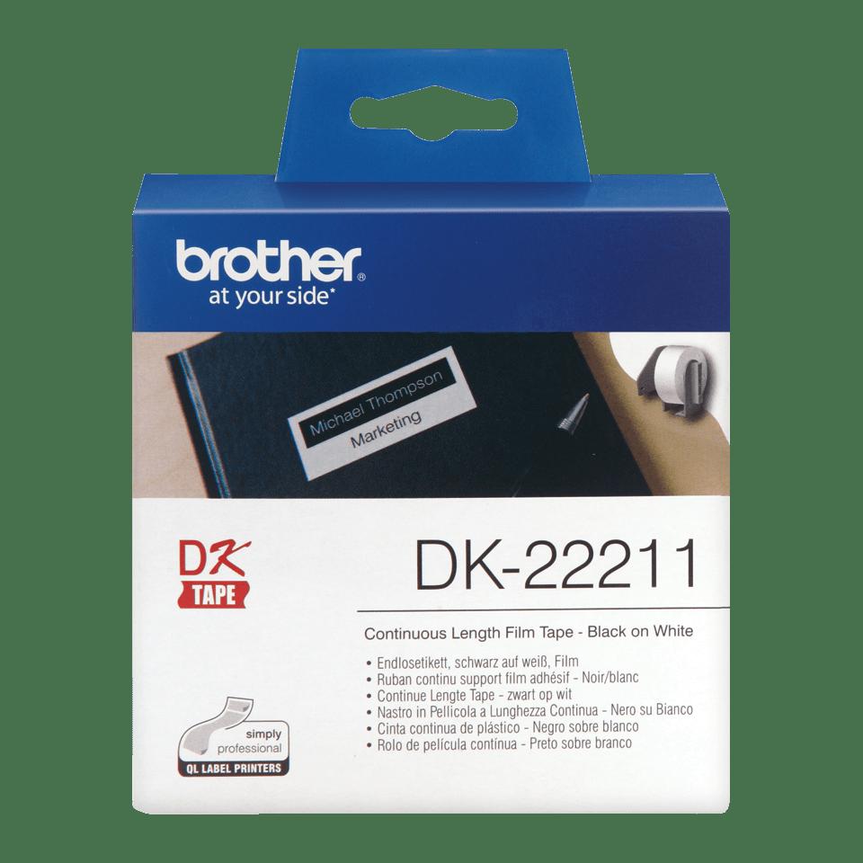 Brother DK22211: оригинальная неразрезанная плёночная лента для печати наклеек черным на белом фоне, 29 мм.
