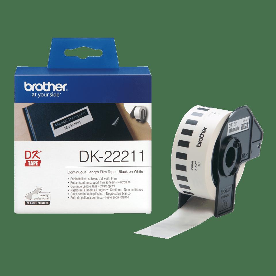 Brother DK22211: оригинальная неразрезанная плёночная лента для печати наклеек черным на белом фоне, 29 мм. 3