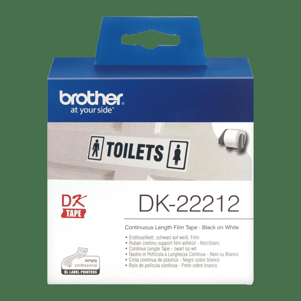Brother DK22212: оригинальная неразрезанная отделяемая пленка для печати наклеек черным на белом фоне, 62 мм.