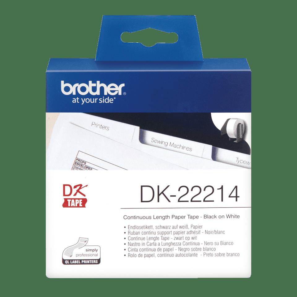 Brother DK22214: оригинальная кассета с непрерывной бумажной лентой для печати наклеек черным на белом фоне, ширина: 12 мм.
