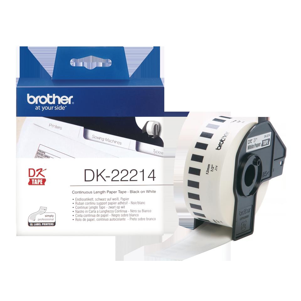 Brother DK22214: оригинальная кассета с непрерывной бумажной лентой для печати наклеек черным на белом фоне, ширина: 12 мм. 3
