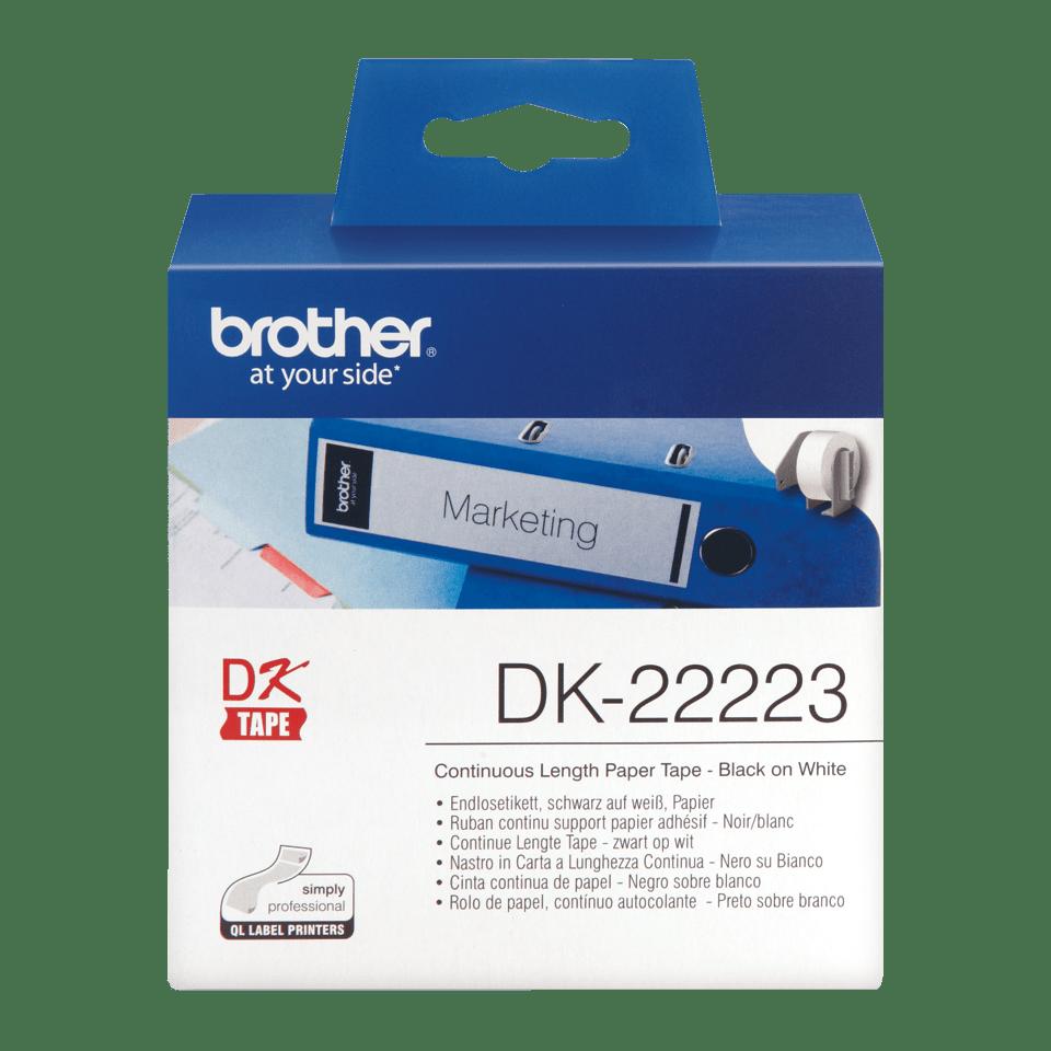 Brother DK22223: оригинальная кассета с непрерывной бумажной лентой для печати наклеек черным на белом фоне, ширина: 50 мм.
