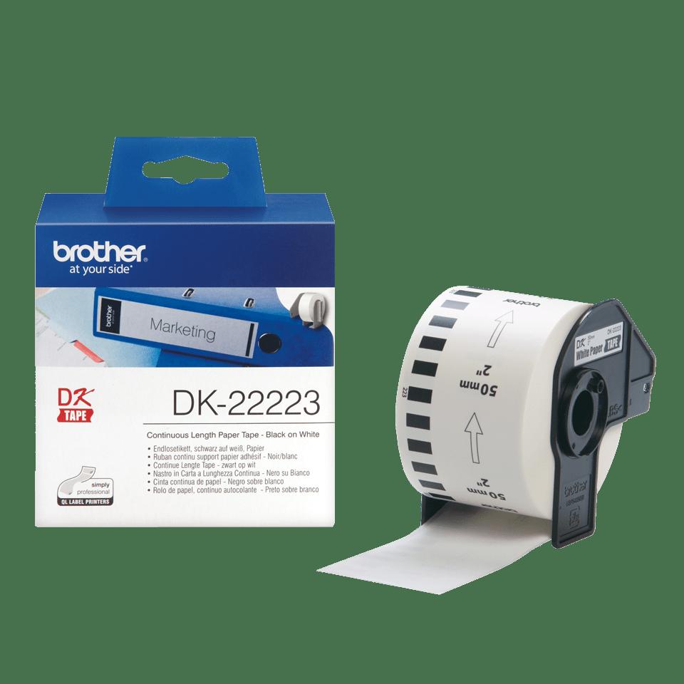 Brother DK22223: оригинальная кассета с непрерывной бумажной лентой для печати наклеек черным на белом фоне, ширина: 50 мм. 3