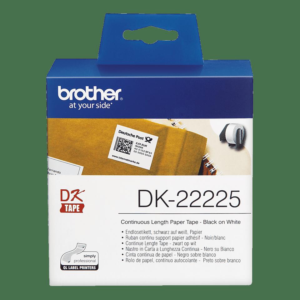 Brother DK22225: оригинальная кассета с непрерывной бумажной лентой для печати наклеек черным на белом фоне, ширина: 38 мм. 2