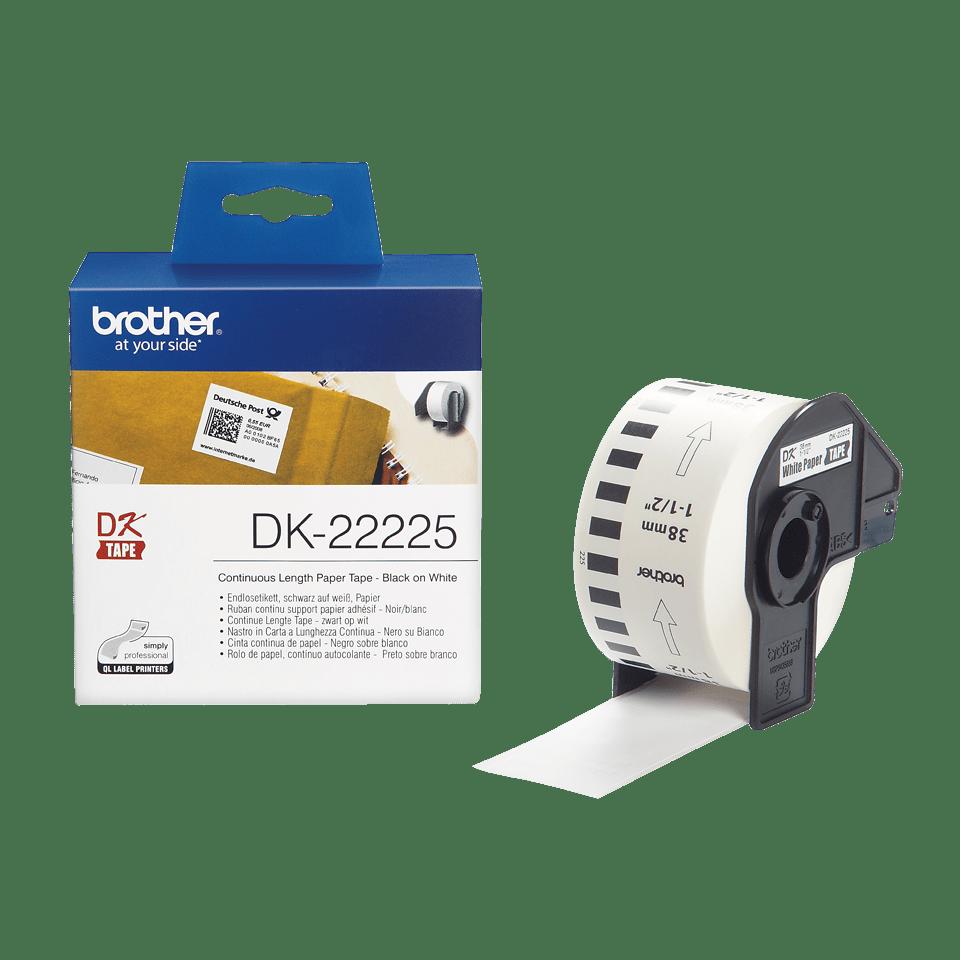 Brother DK22225: оригинальная кассета с непрерывной бумажной лентой для печати наклеек черным на белом фоне, ширина: 38 мм.
