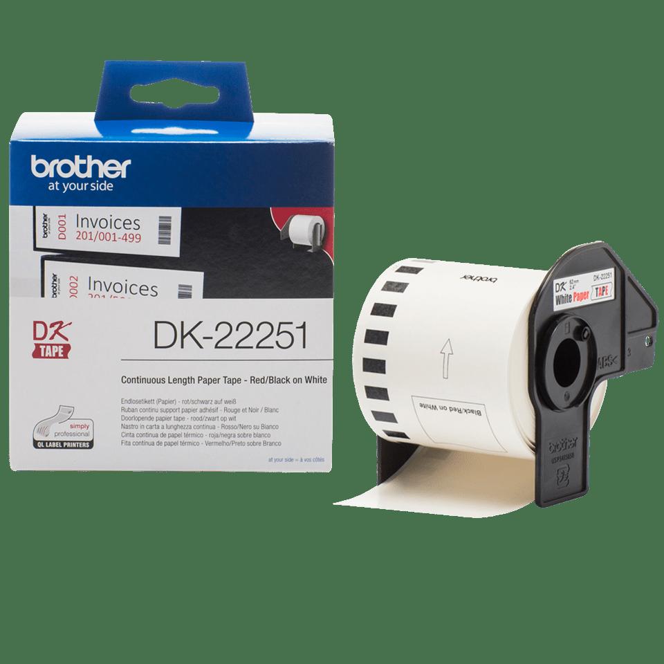 Brother DK22251: оригинальная неразрезанная бумажная лента для печати наклеек красным и черным на белом фоне, ширина: 62 мм.