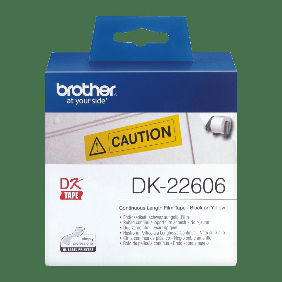 Brother DK22606: оригинальная кассета с непрерывной лентой  для печати наклеек черным на желтом фоне, ширина: 62 мм. 2