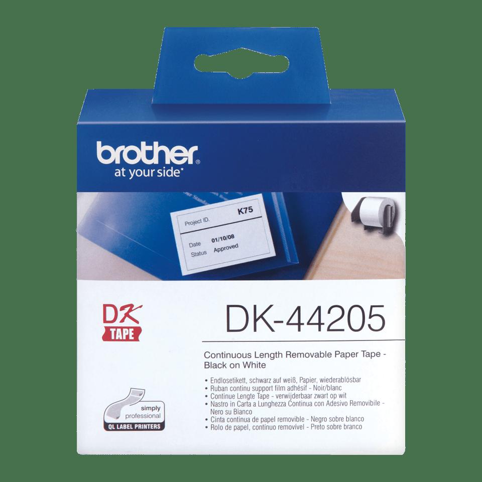 Brother DK44205: оригинальная неразрезанная отделяемая бумажная лента для печати наклеек черным на белом фоне, 62 мм.