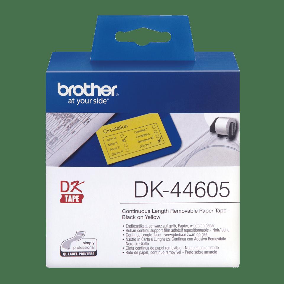 Brother DK44605: оригинальная непрерывная бумажная лента с удаляемой клейкой поверхностью для печати наклеек черным на желтом фоне, 62 мм.