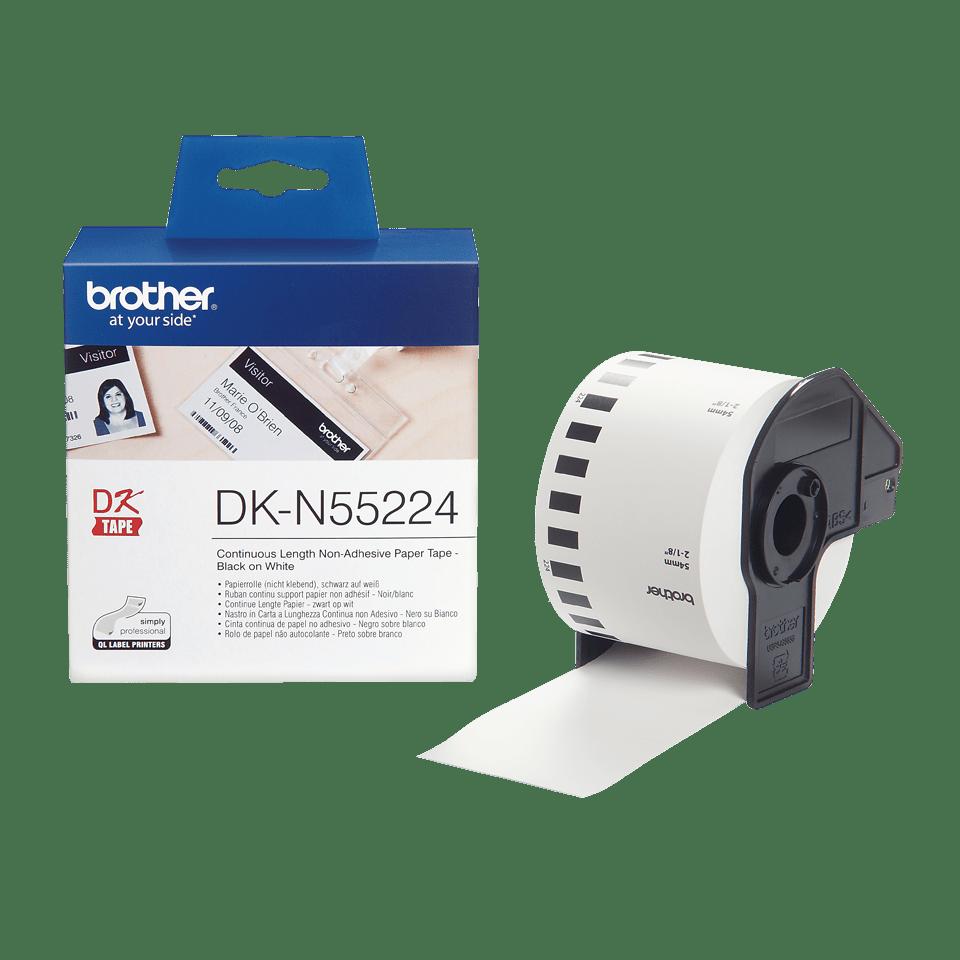 Brother DKN55224: белая неразрезанная неклейкая бумажная лента для печати черным на белом фоне, 54 мм.