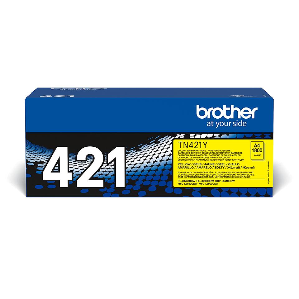 Brother TN421Y: оригинальный желтый тонер-картридж.