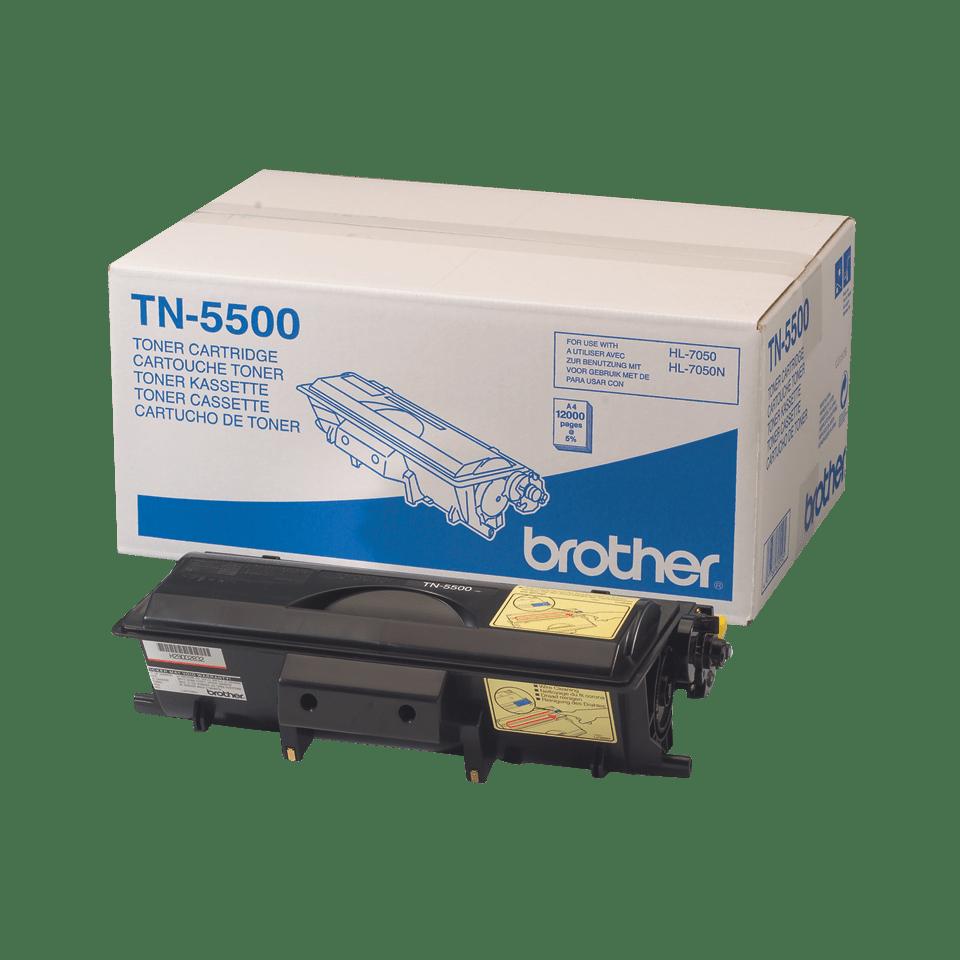 Brother TN5500: оригинальный черный тонер-картридж ультравысокой емкости для печатающего устройства.