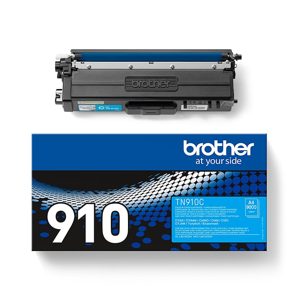 Brother TN910C: оригинальный голубой тонер-картридж. 2