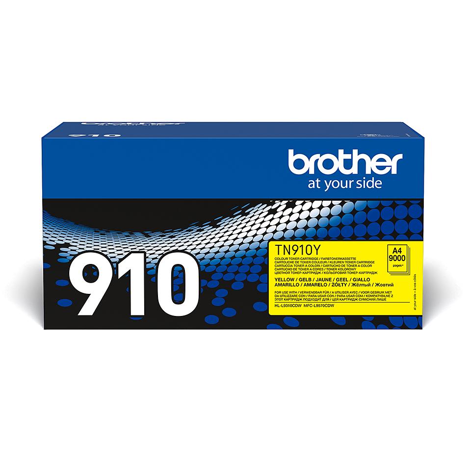 Brother TN910Y: оригинальный желтый тонер-картридж.