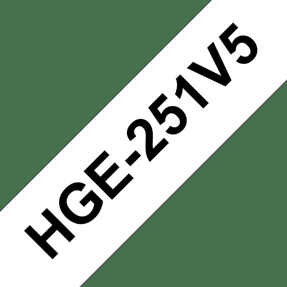 Brother HGe251V5: оригинальная кассета с лентой для печати наклеек черным на белом фоне, ширина: 24 мм.
