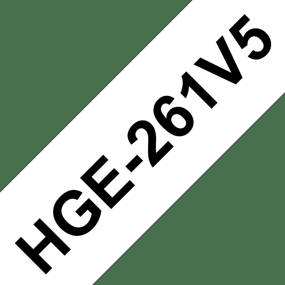 Brother HGE261V5: оригинальная лента для печати наклеек черным на белом фоне, ширина: 36 мм.
