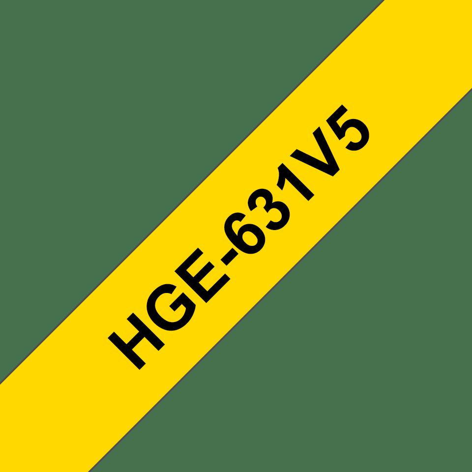 Brother HGe631V5: оригинальная кассета с лентой для печати наклеек черным на желтом фоне, ширина: 12 мм.
