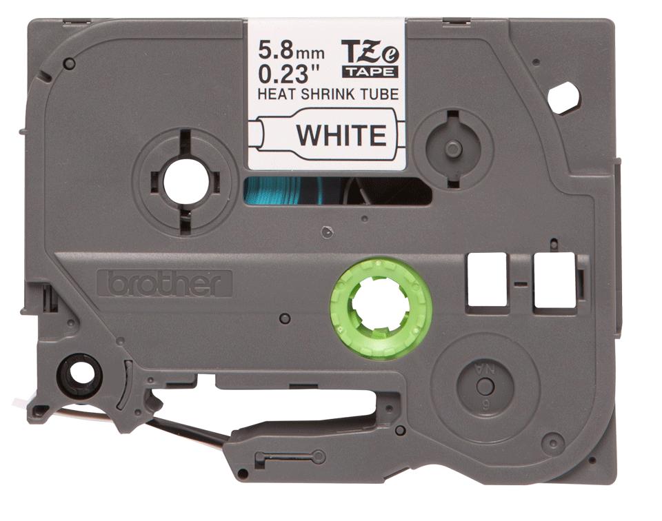 Brother HSe211: термоусадочная кассета с лентой для печати черным на белом фоне, ширина: 5,8 мм.