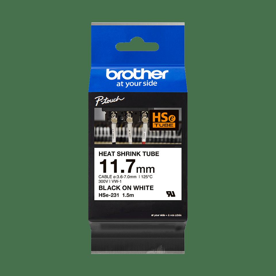 Brother HSe231: оригинальная кассета с термоусадочной лентой для печати наклеек черным на белом фоне, ширина: 11,7 мм. 2