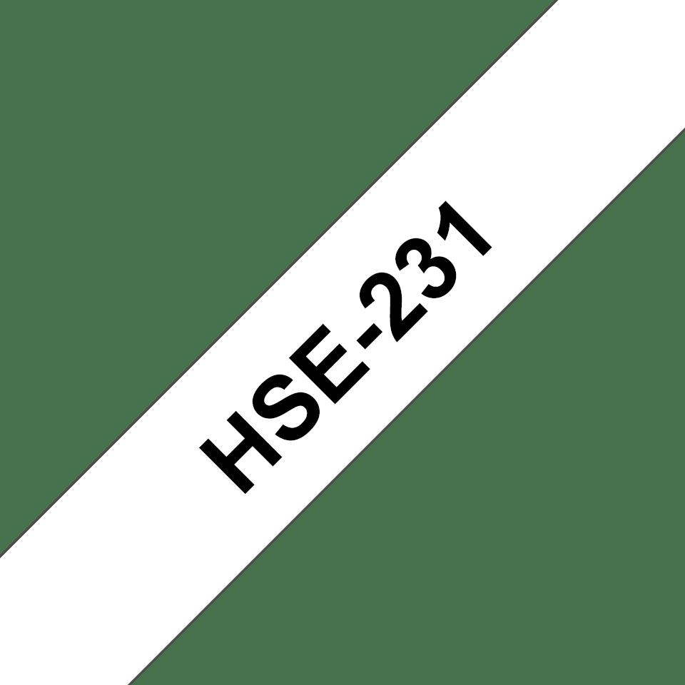 Brother HSe231: оригинальная кассета с термоусадочной лентой для печати наклеек черным на белом фоне, ширина: 11,7 мм. 3