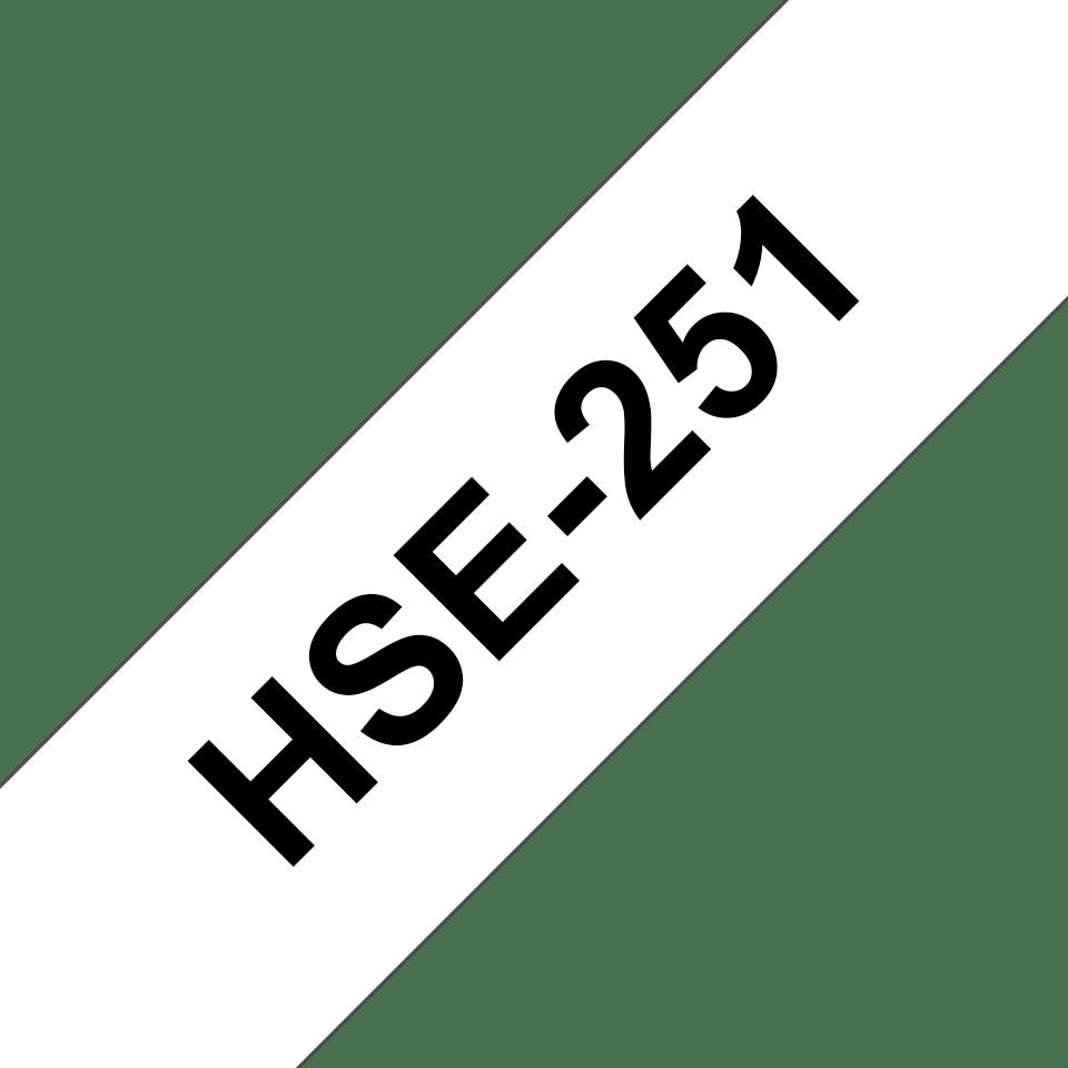 Brother HSe251: оригинальная кассета с термоусадочной лентой для печати наклеек  черным на белом фоне, ширина: 23,6 мм. 3
