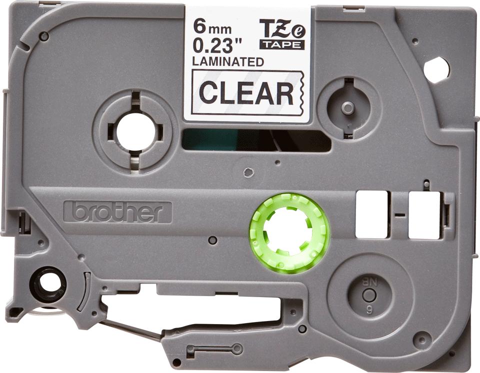 Brother TZe111: оригинальная кассета с лентой для печати наклеек черным на прозрачном фоне на принтере P-touch в одном экземпляре, ширина: 6 мм.