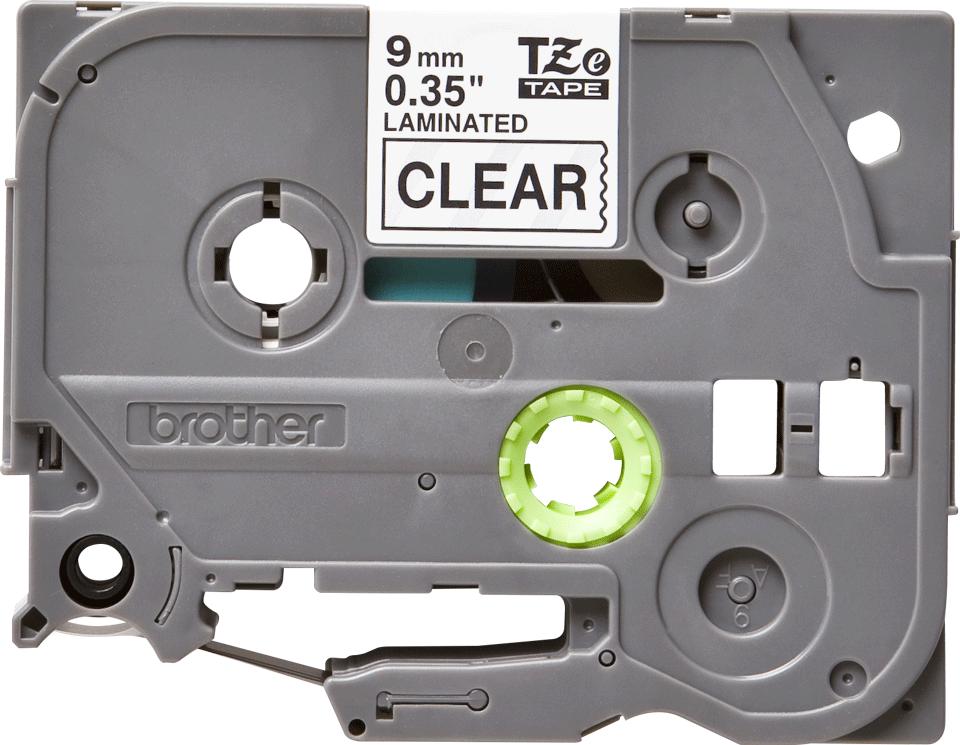 Brother TZe121: кассета с лентой для печати наклеек черным на прозрачном фоне, 9 мм.