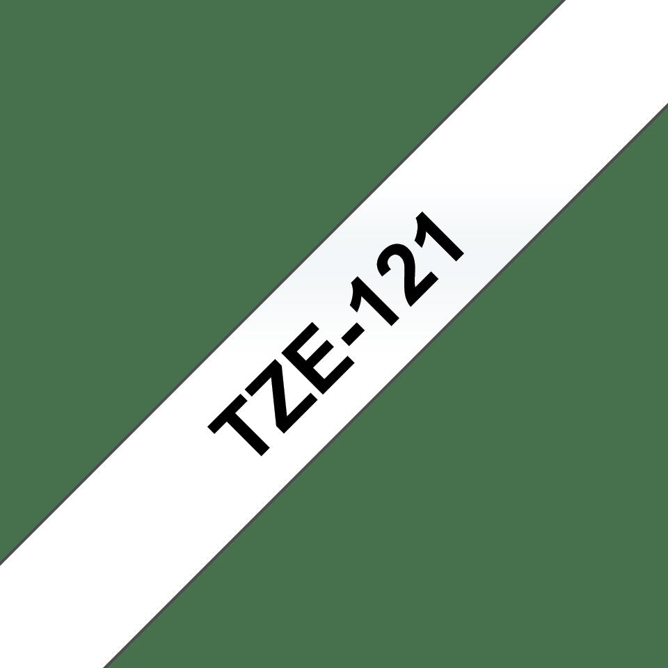 Brother TZe121: кассета с лентой для печати наклеек черным на прозрачном фоне, 9 мм. 3