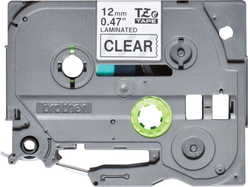Brother TZe131S: оригинальная кассета с лентой для печати наклеек черным на прозрачном фоне, 12 мм.